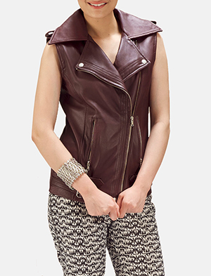Womens Rhonda Maroon Leather Biker Vest