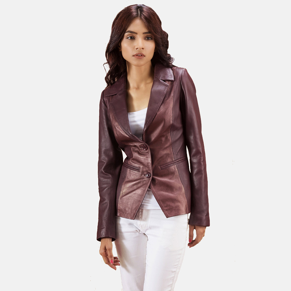 Womens Ruby Metallic Maroon Leather Blazer 3