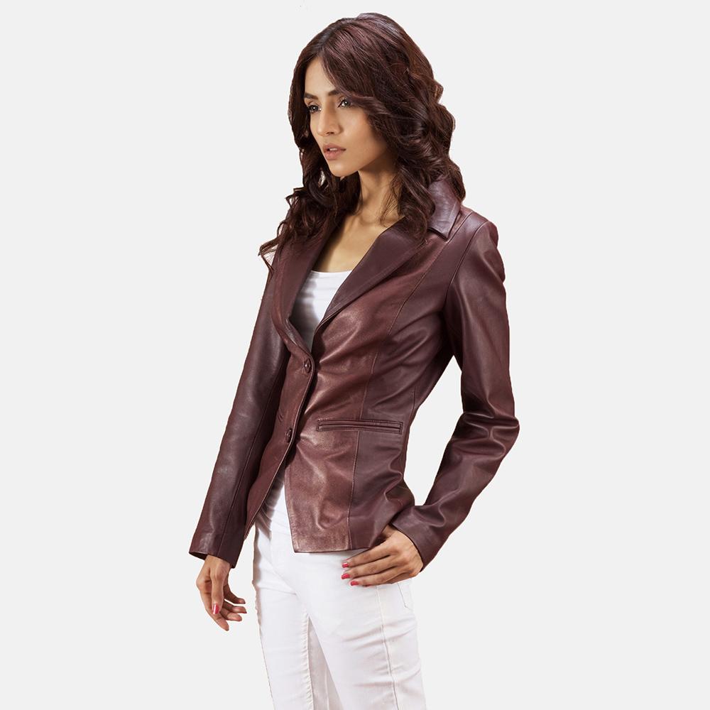 Womens Ruby Metallic Maroon Leather Blazer 2