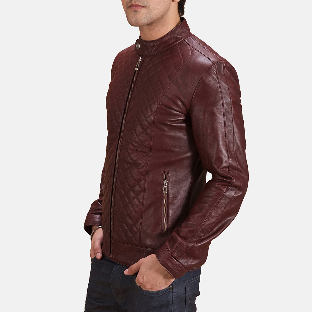 Mens Burgunn Dee Quilted Maroon Leather Biker Jacket 3