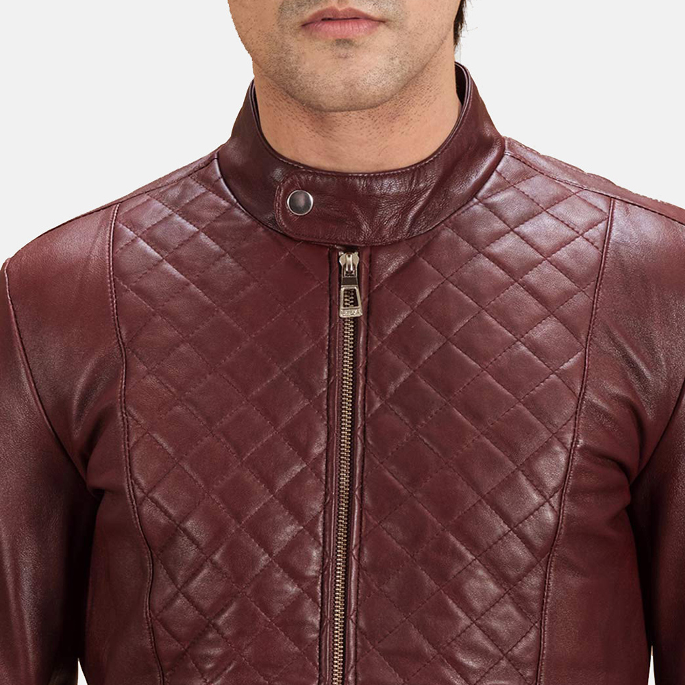Mens Burgunn Dee Quilted Maroon Leather Biker Jacket 5