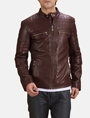 Mens Urbane Quilted Maroon Leather Biker Jacket
