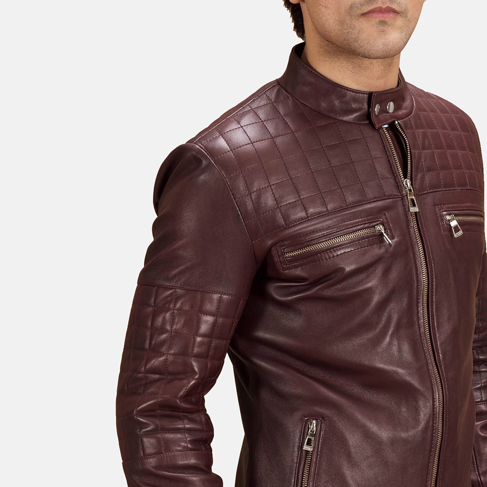 Mens Urbane Quilted Maroon Leather Biker Jacket 4