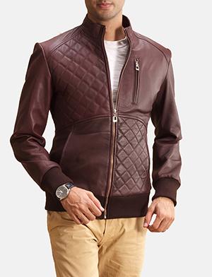 Maroon quilt paneled bomber jacket zoom 2 1491404211682