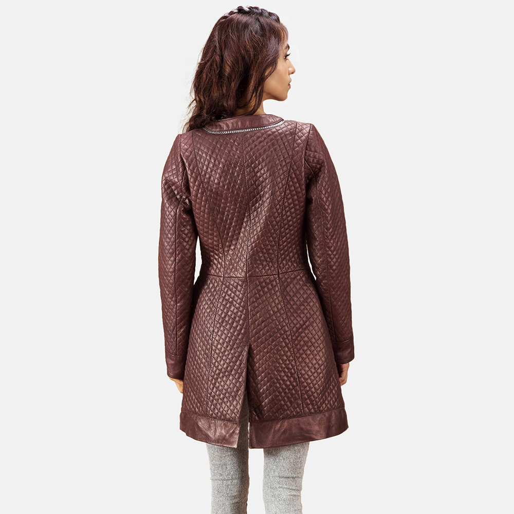 Womens Trudy Lane Quilted Maroon Leather Coat 5