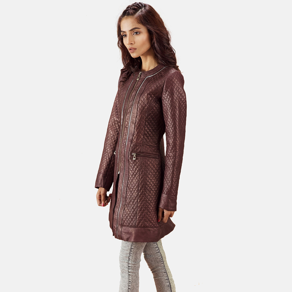 Womens Trudy Lane Quilted Maroon Leather Coat 3