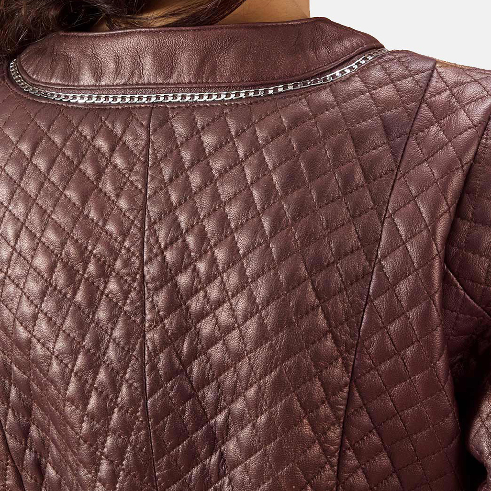 Womens Trudy Lane Quilted Maroon Leather Coat 6