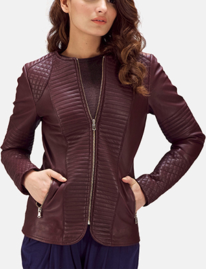 Womens Nexi Quilted Maroon Leather Jacket