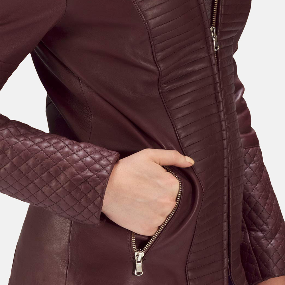 Womens Nexi Quilted Maroon Leather Jacket 5