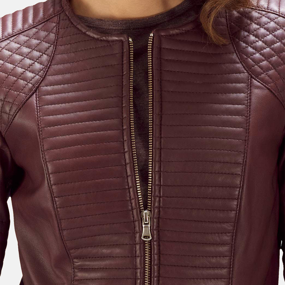 Womens Nexi Quilted Maroon Leather Jacket 3