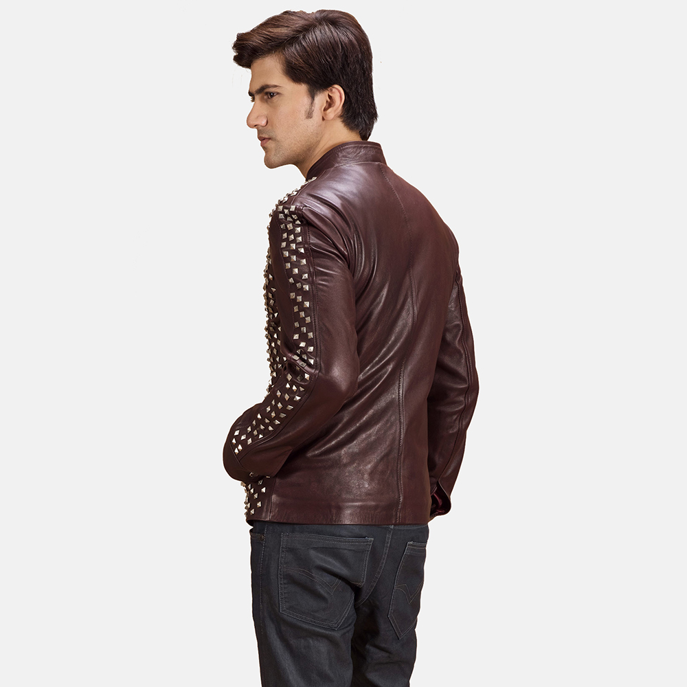 Mens Blix Bono Studded Maroon Leather Biker Jacket 3