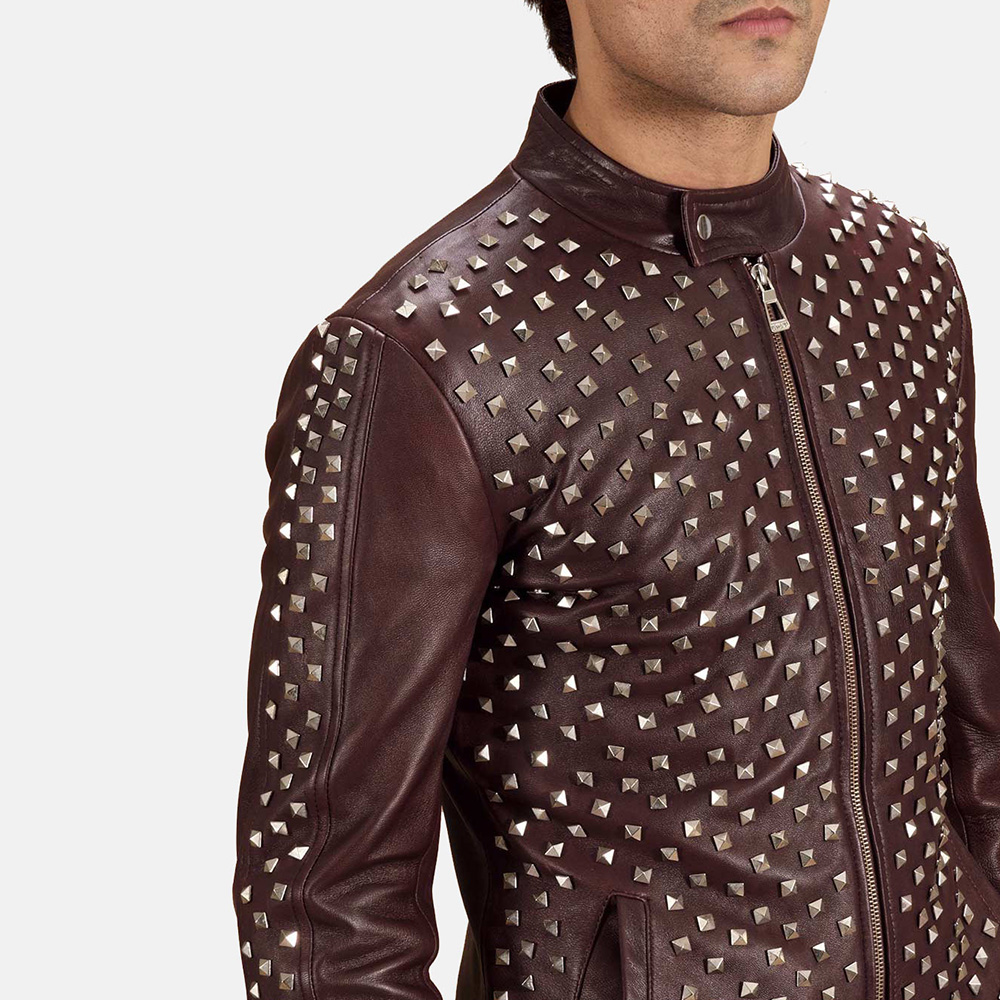 Mens Blix Bono Studded Maroon Leather Biker Jacket 4