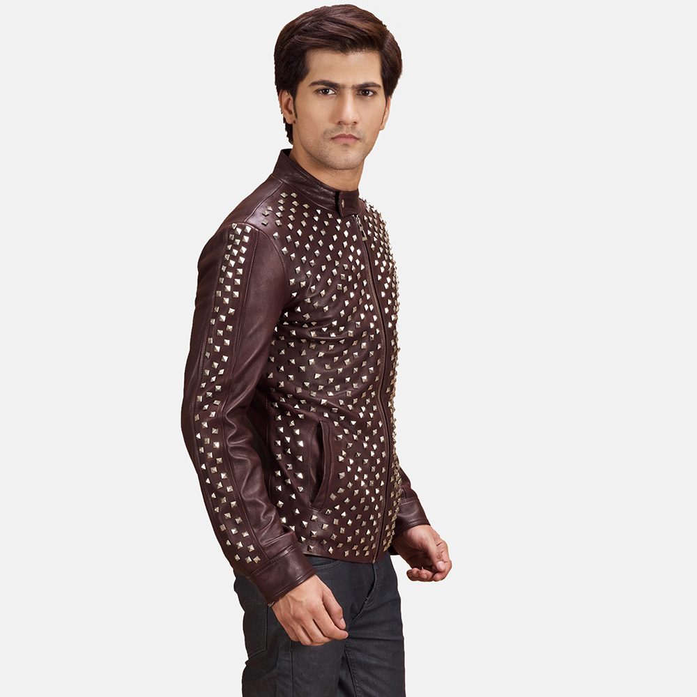 Mens Blix Bono Studded Maroon Leather Biker Jacket 5