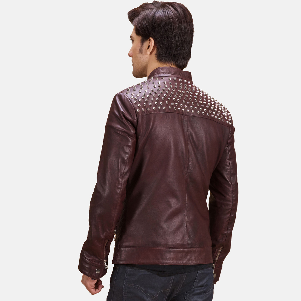 Mens Rumano Jae Studded Maroon Leather Biker Jacket 4