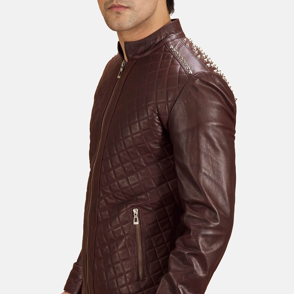Mens Rumano Jae Studded Maroon Leather Biker Jacket 1