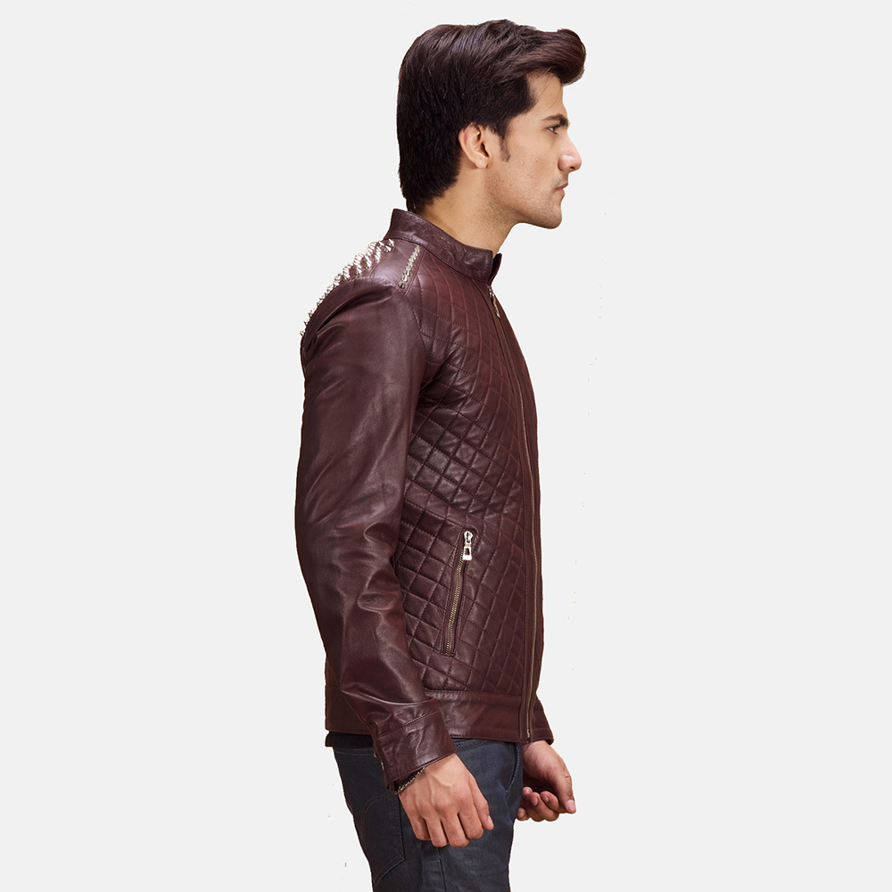 Mens Rumano Jae Studded Maroon Leather Biker Jacket 3