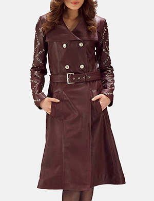 Missoni Maroon Leather Trench Coat