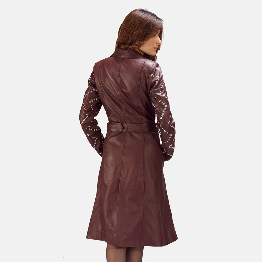 Womens Missoni Maroon Leather Trench Coat 3