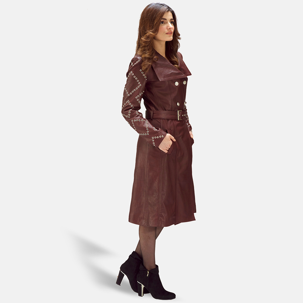 Womens Missoni Maroon Leather Trench Coat 2