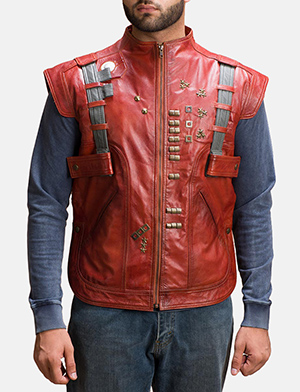 Mens Mars Maroon Leather  Vest