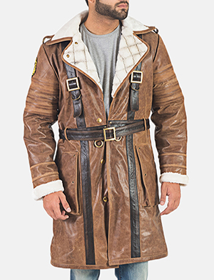 Men's Mason Brown Fur Leather Trench Coat