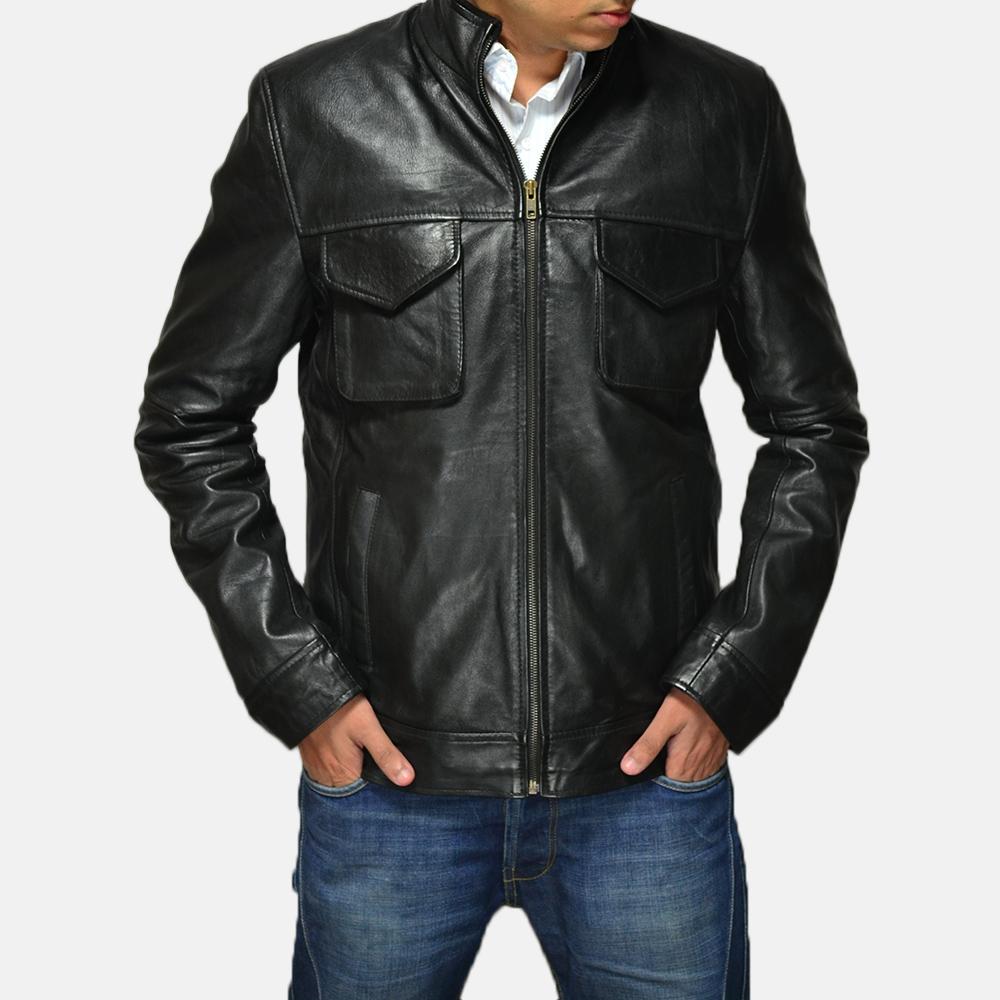 Mens Maurice Black Leather Jacket 5