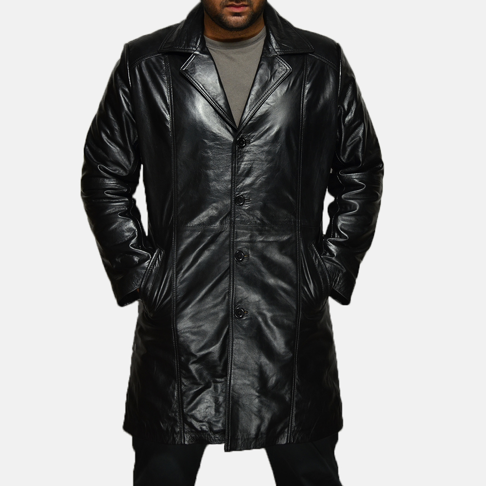 Mens Don Long Black Leather Coat 1