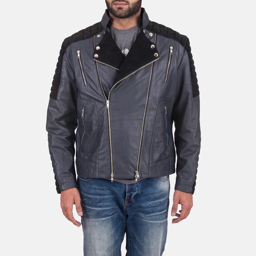 Men's Lucas Hybrid Suede Leather Biker Jacket 1