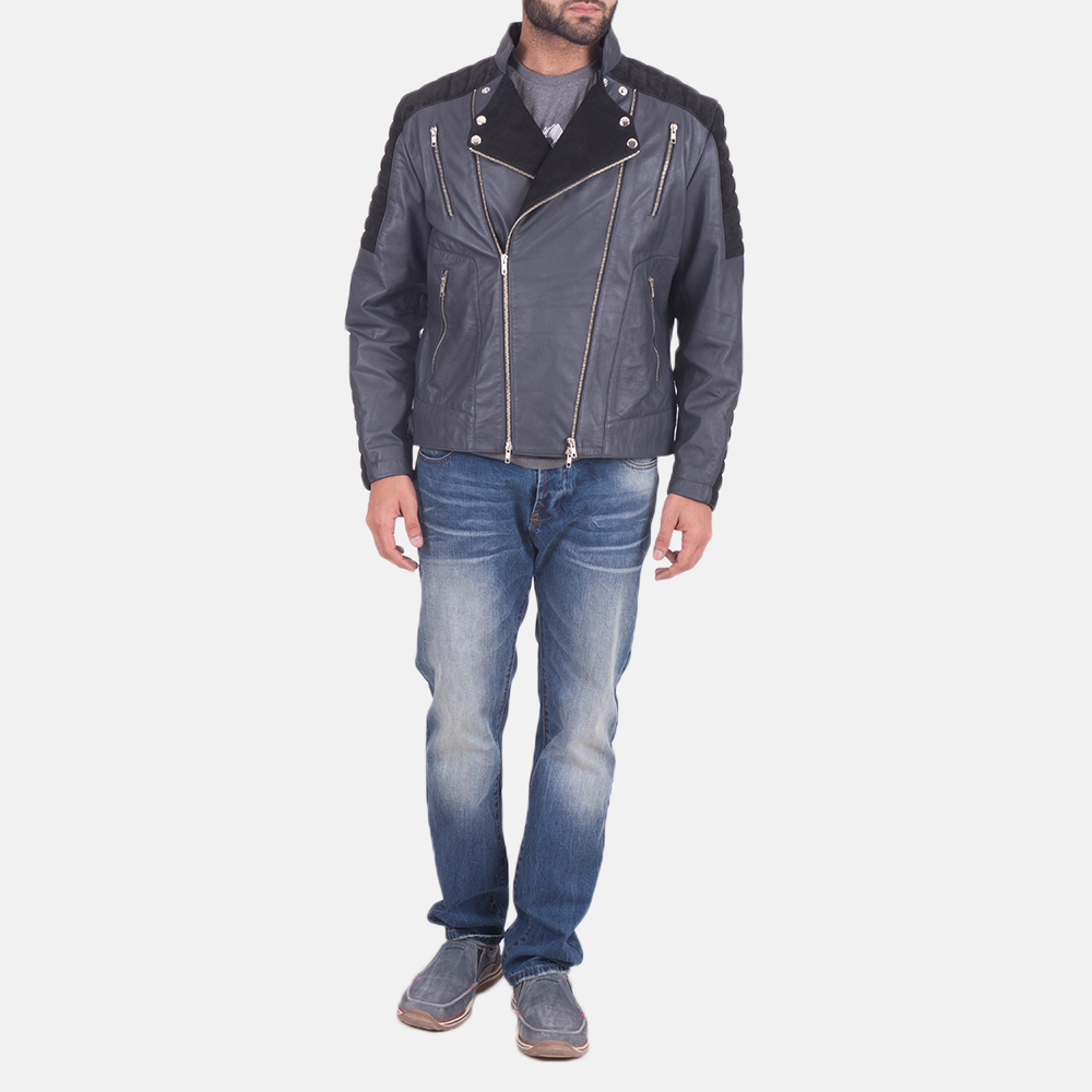 Men's Lucas Hybrid Suede Leather Biker Jacket 2