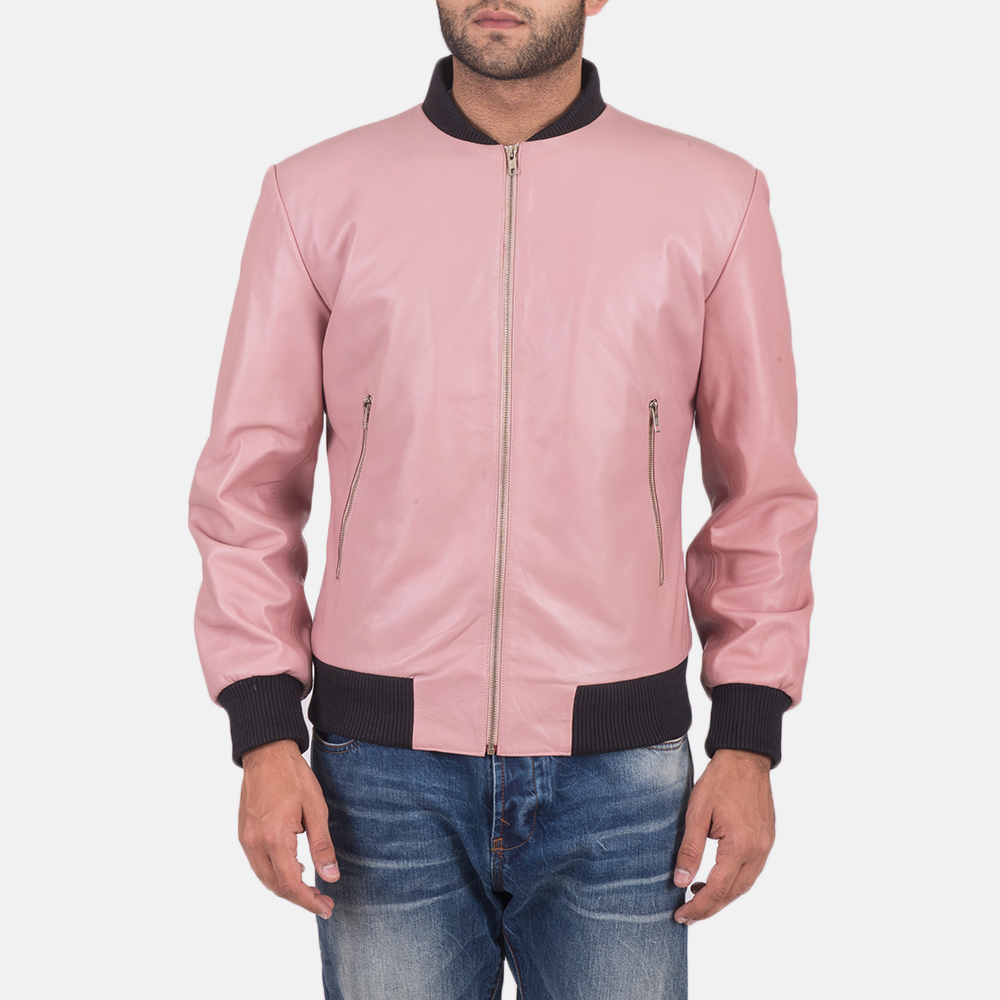 Men's Shane Pink Leather Bomber Jacket 1