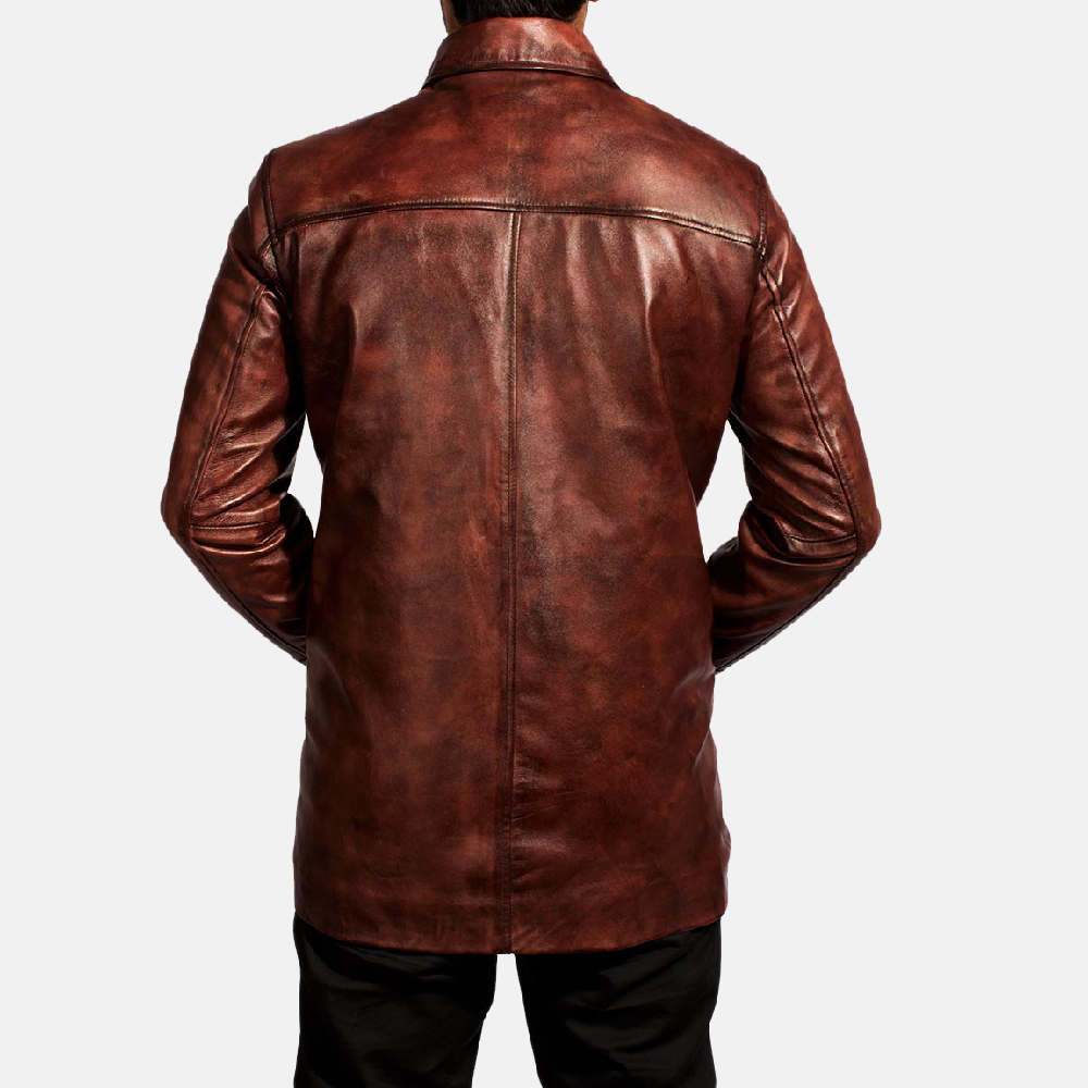 Mens Tuba Distressed Brown Leather Jacket 5
