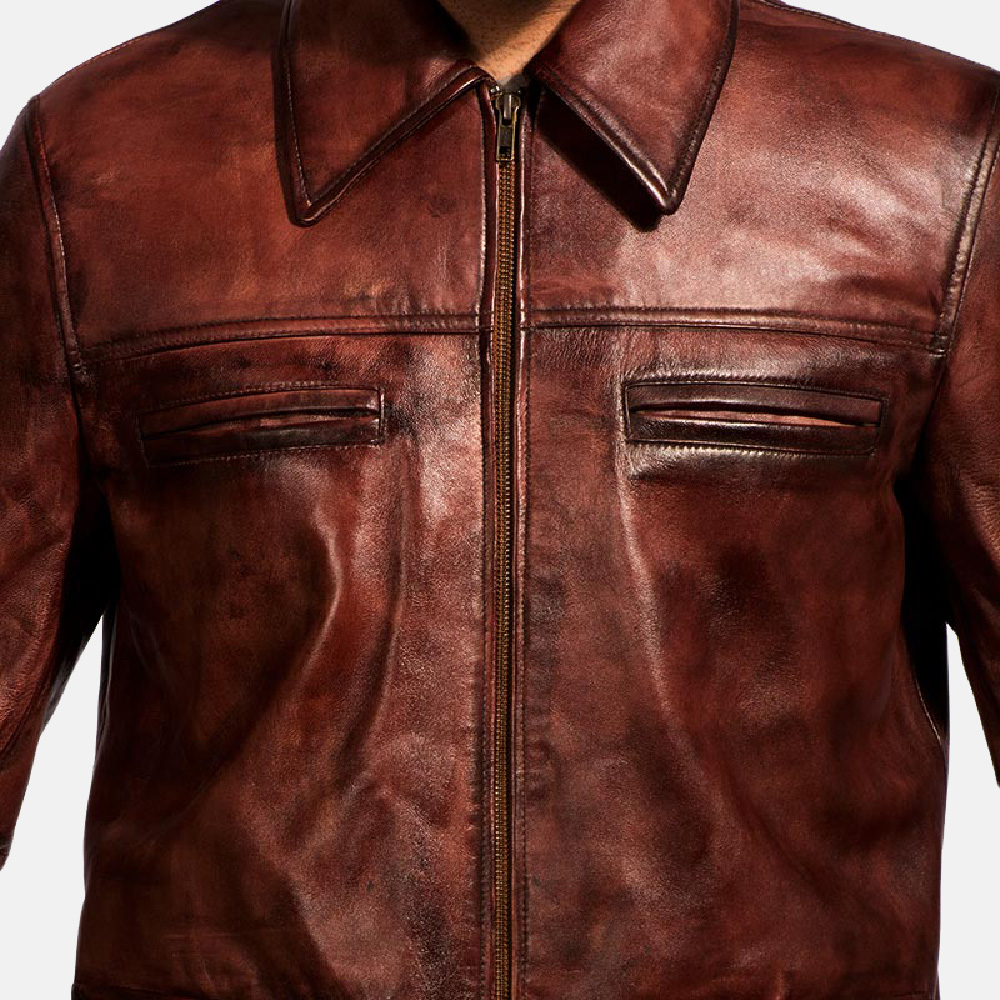 Mens Tuba Distressed Brown Leather Jacket 4
