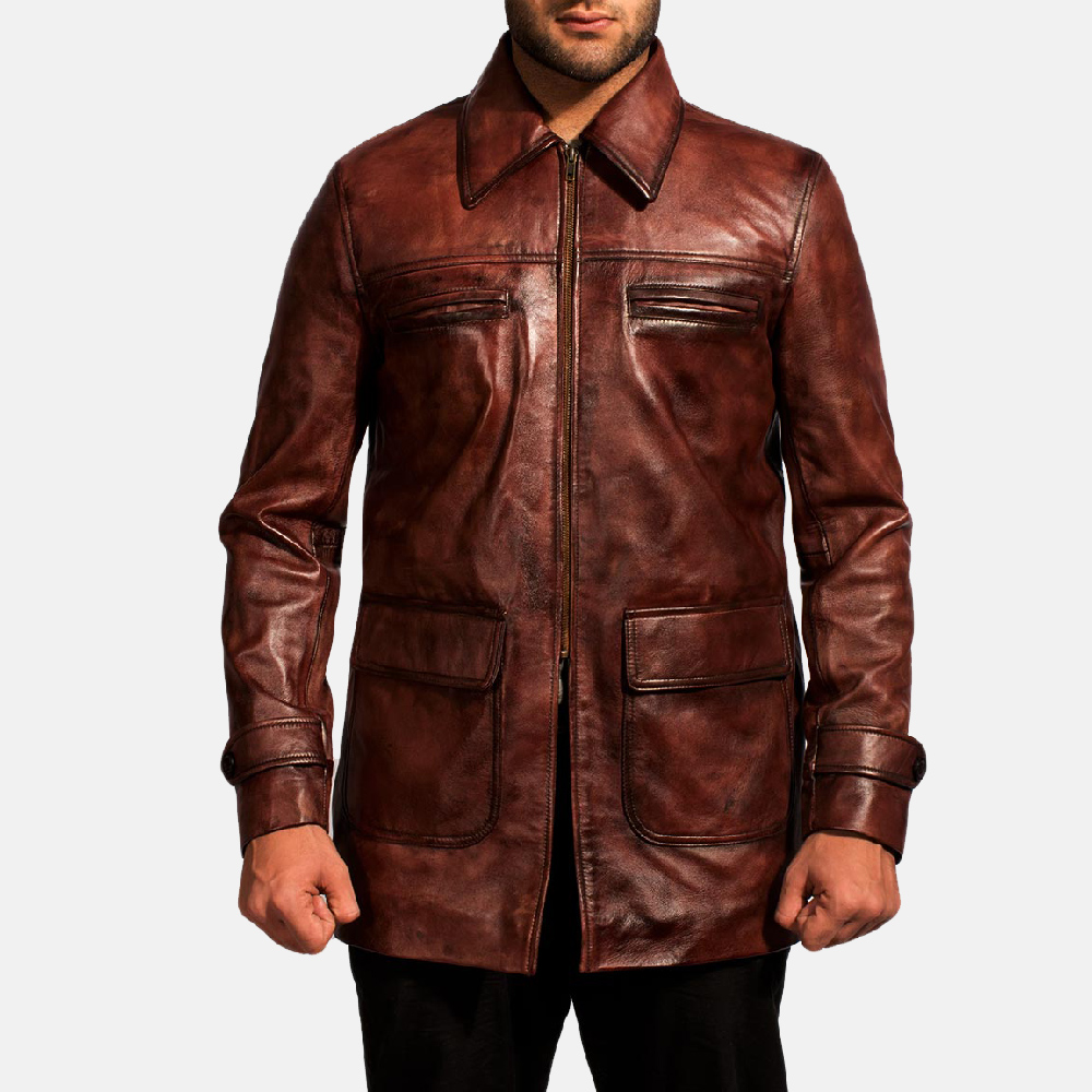 Mens Tuba Distressed Brown Leather Jacket 1