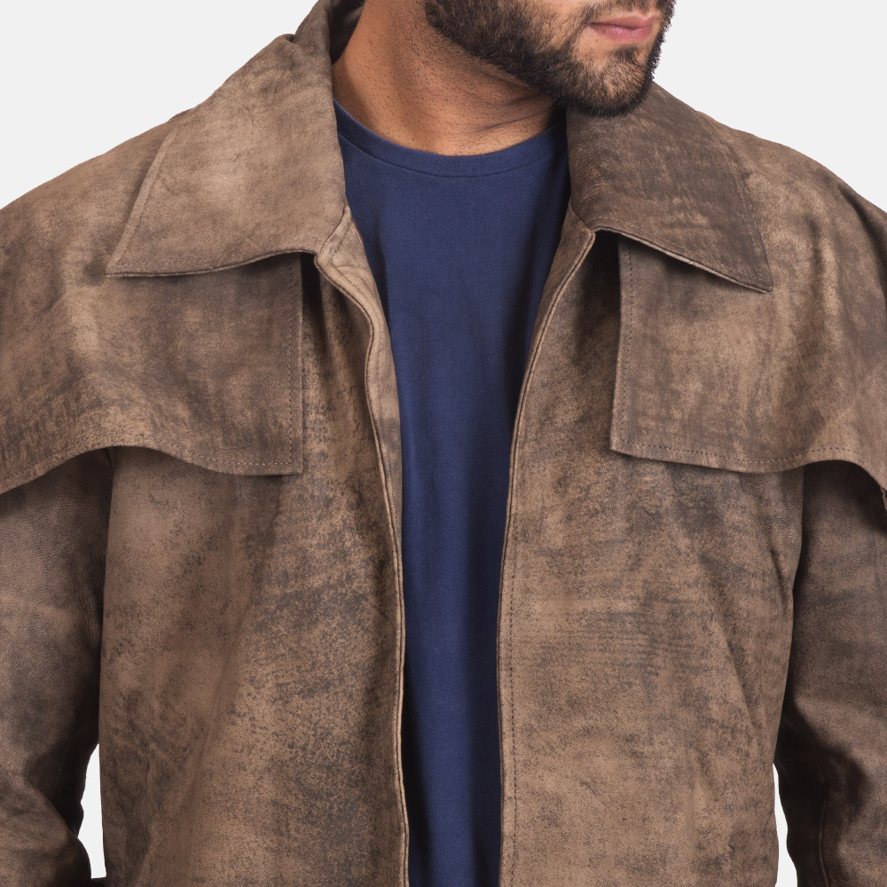 Mens Classic Brown Leather Duster