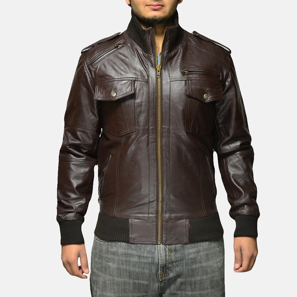 Mens Koke Brown Leather Bomber Jacket