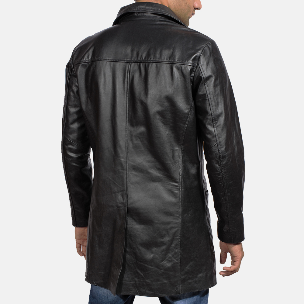 Mens Alan Black Leather Coat 5