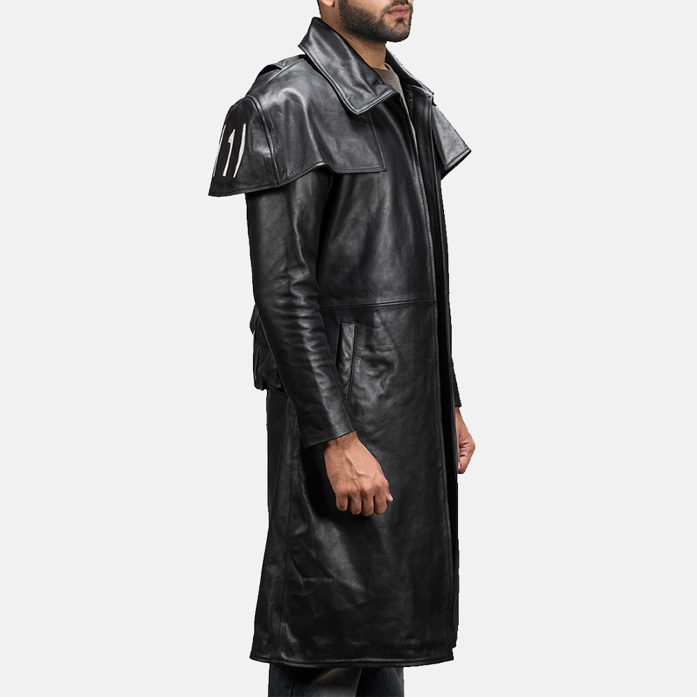 Mens Army Black Leather Duster 5
