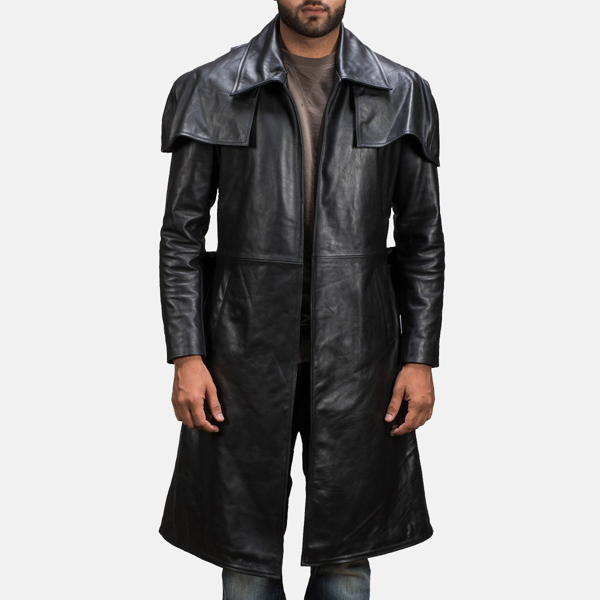 Mens Black Leather Duster Made Of Premium Cowhide Leather 1
