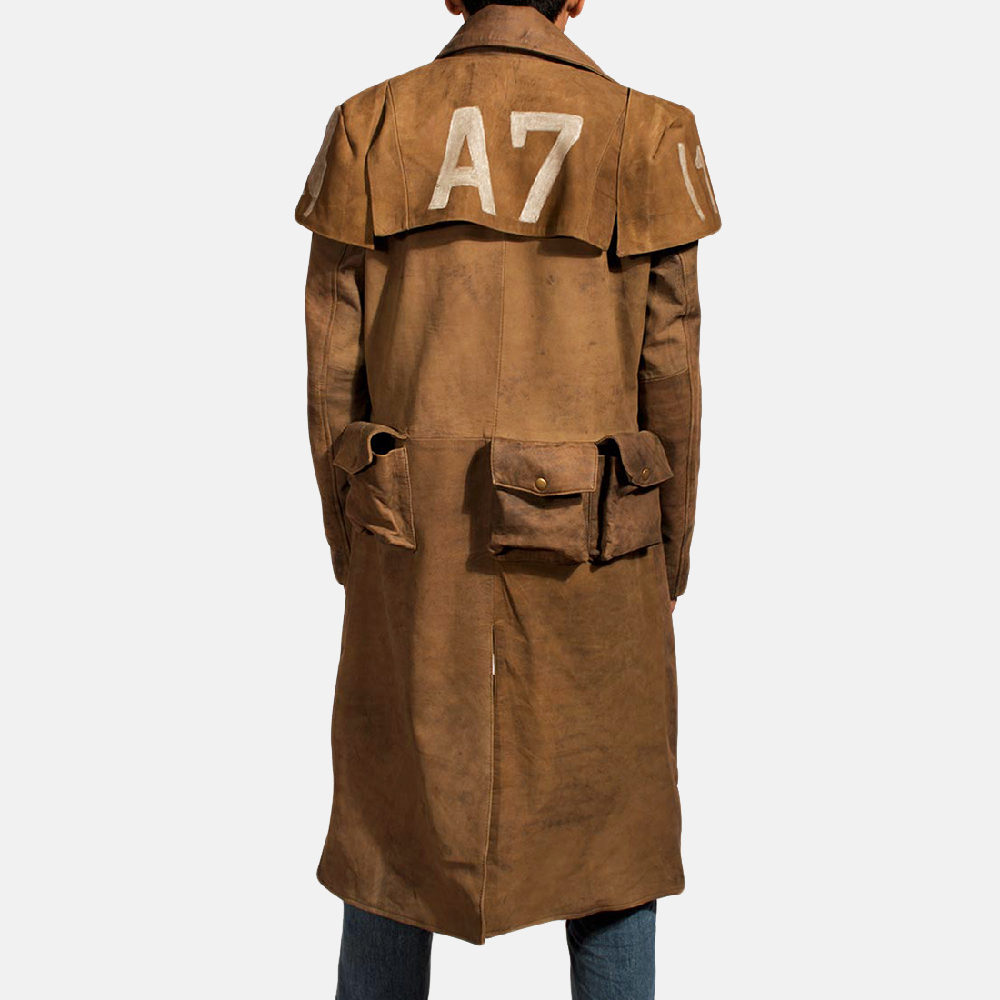 Mens Army Brown Leather Duster 2