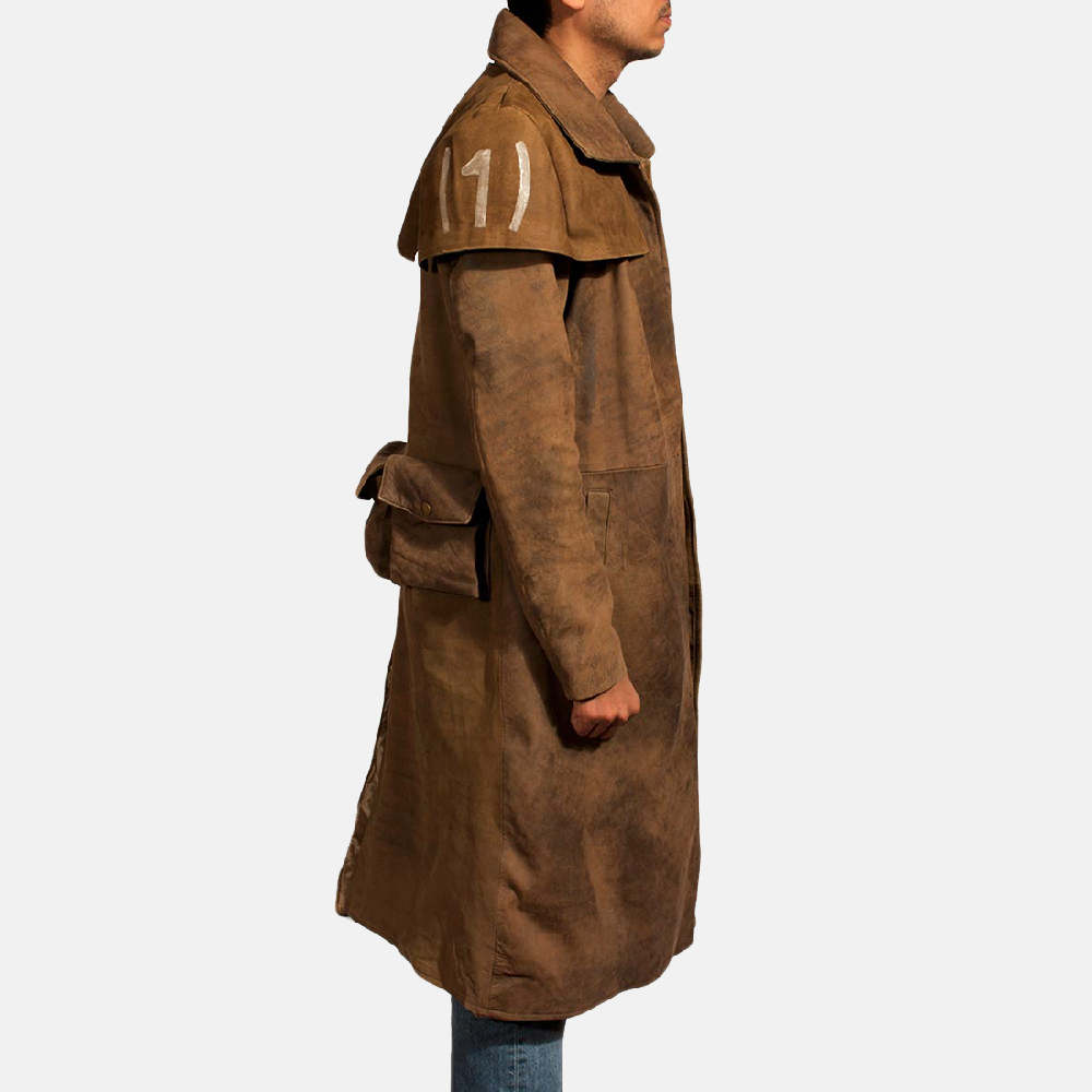 Mens Army Brown Leather Duster 4