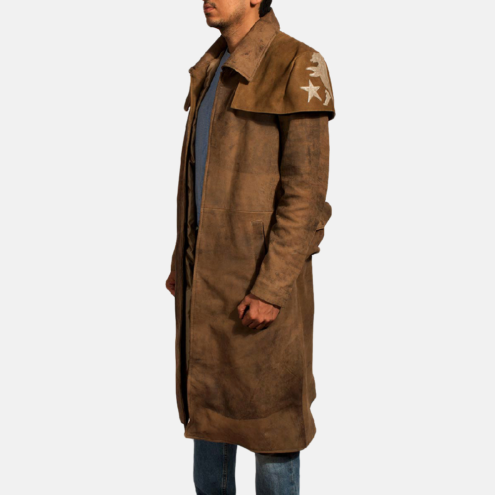 Mens Army Brown Leather Duster 3