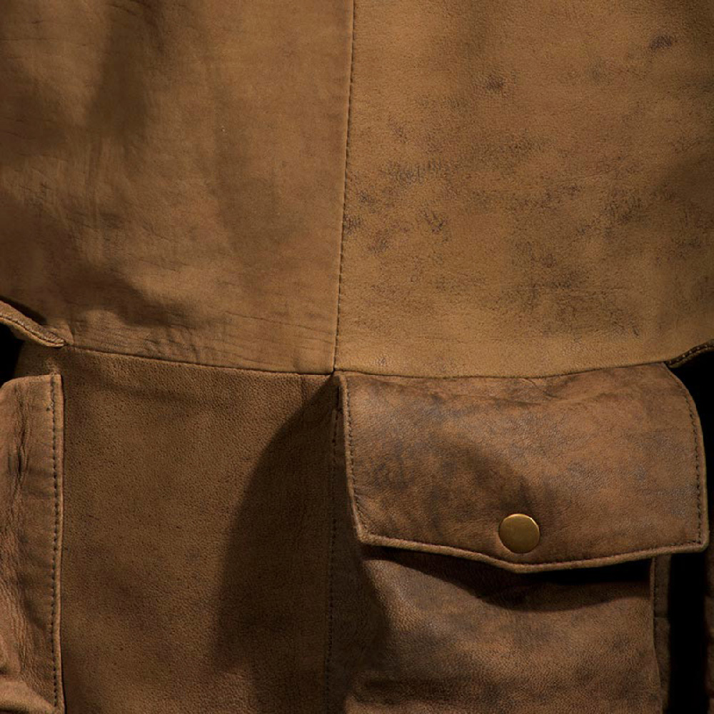 Mens Army Brown Leather Duster 5