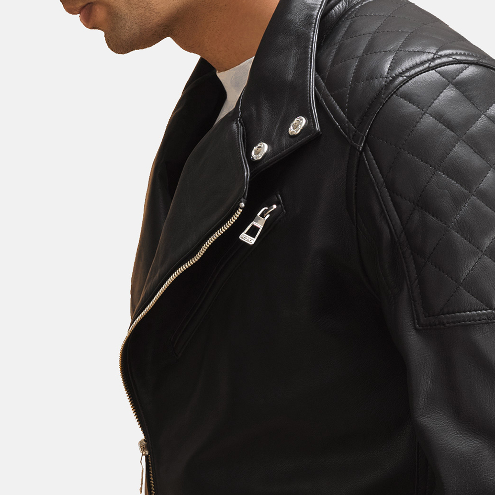 Mens Danny Jargo Quilted Black Leather Biker Jacket 1