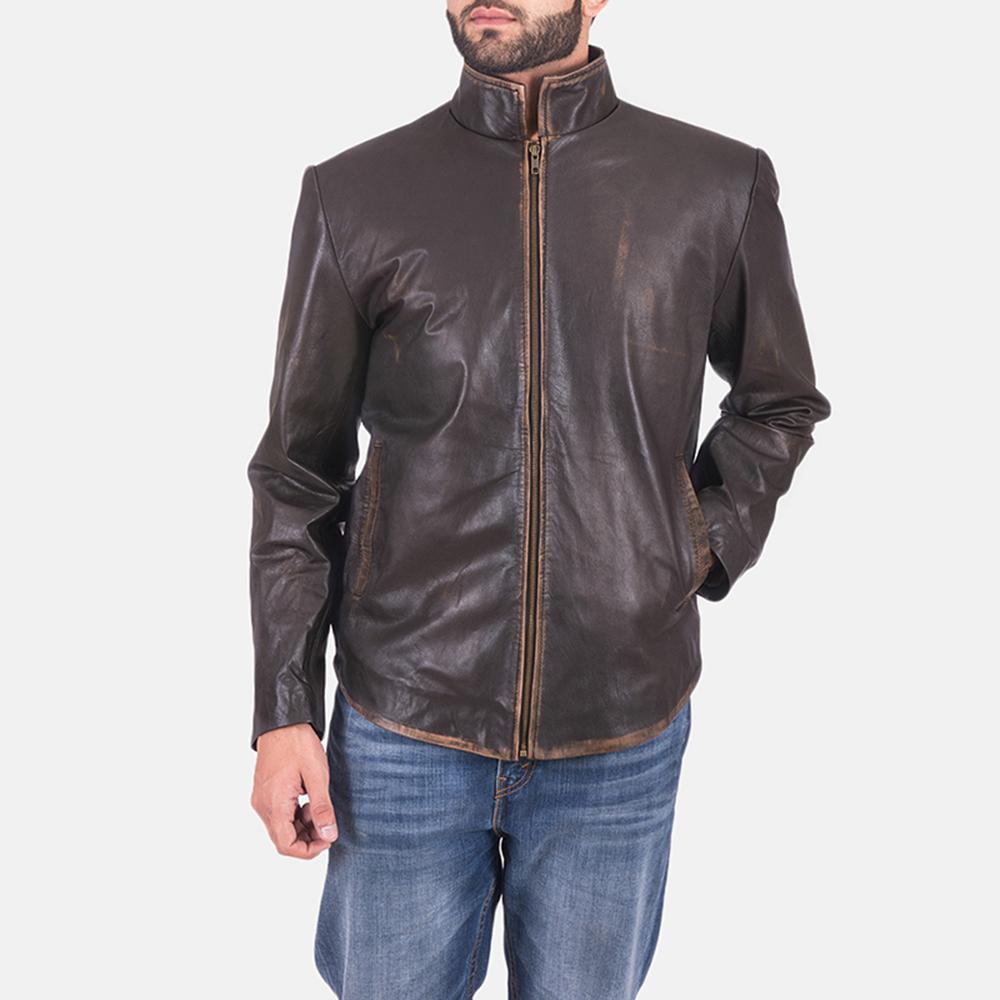 Mens Bikerson Distressed Brown Jacket 2