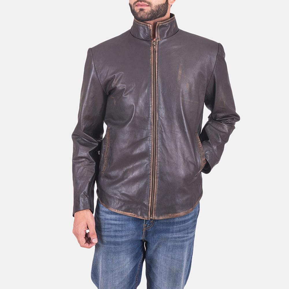 Mens Bikerson Distressed Brown Jacket 1