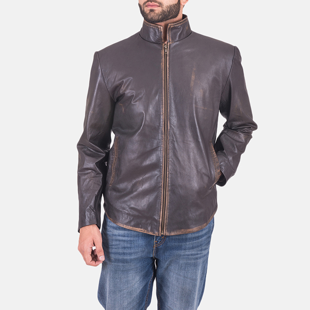 Mens Bikerson Distressed Brown Jacket 2