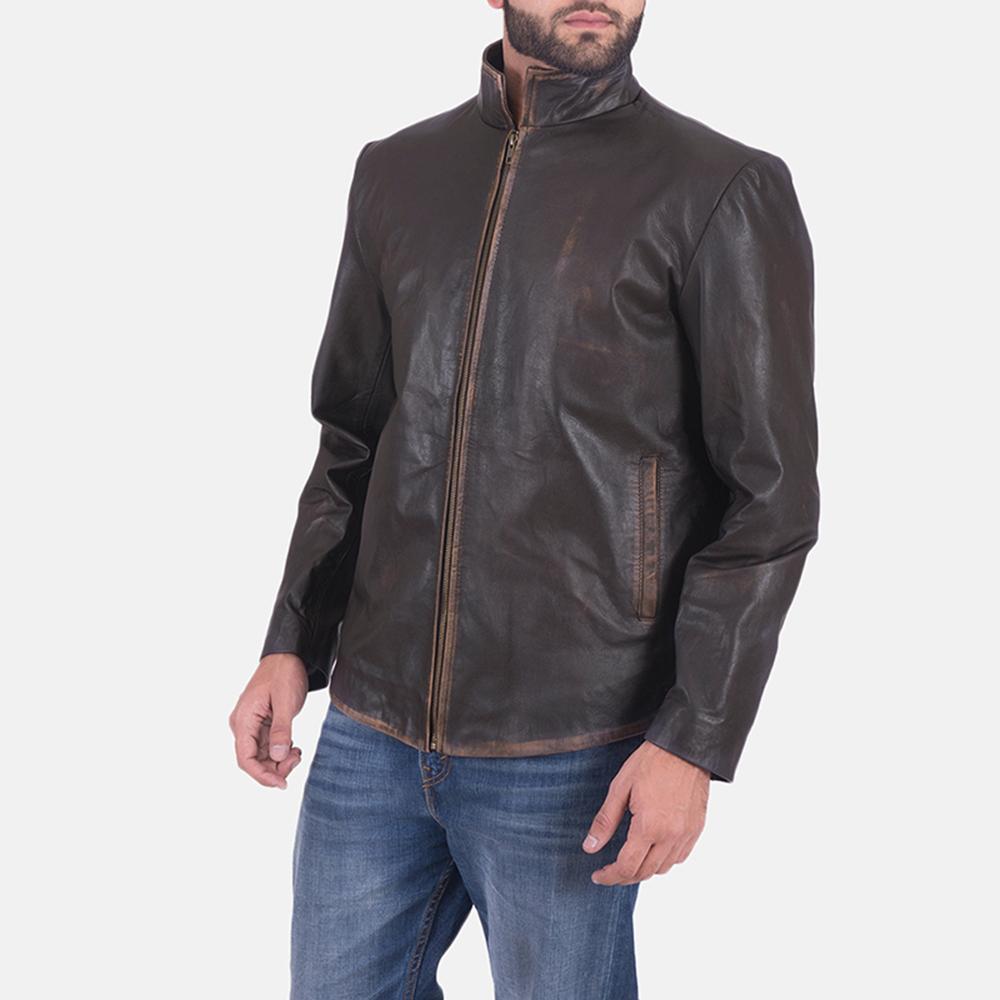 Mens Bikerson Distressed Brown Jacket 3