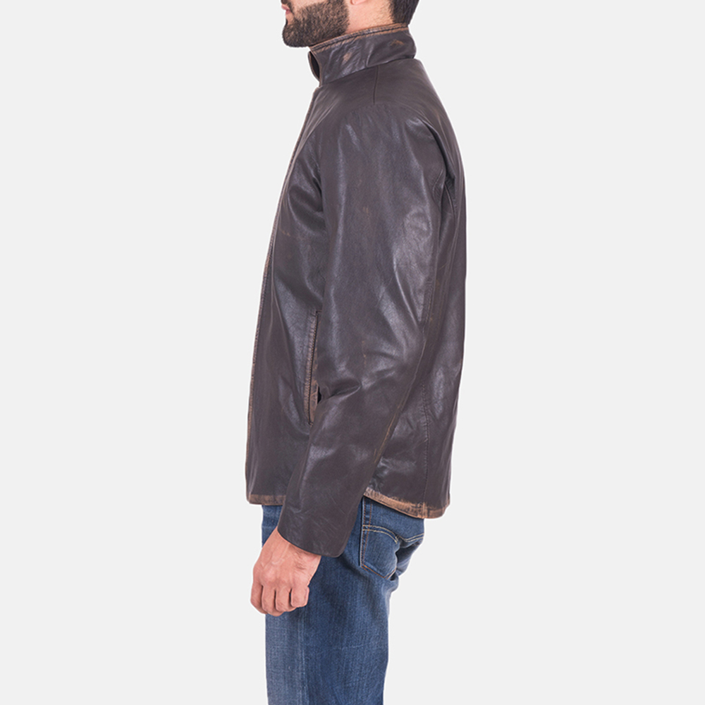 Mens Bikerson Distressed Brown Jacket 5