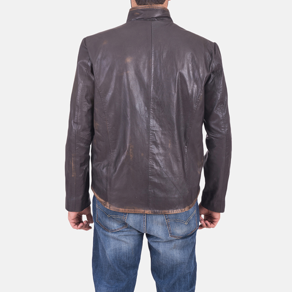Mens Bikerson Distressed Brown Jacket 1