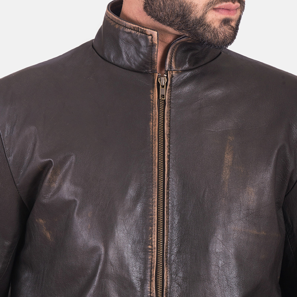Mens Bikerson Distressed Brown Jacket 6